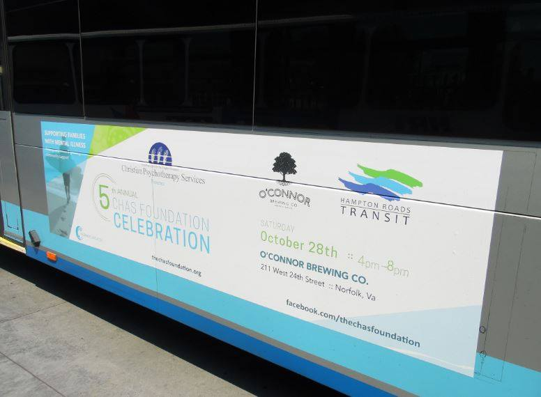 chas foundation advertising on hrt bus